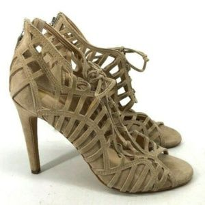 Dolce Vita Womens Tan Cut Out Tie Cage High Heel S